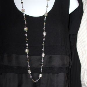 ART GLASS AND CRYSTAL NECKLACE